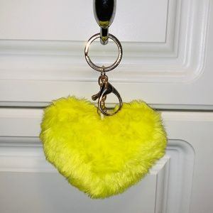 Neon Yellow Fluffy Heart Keychain